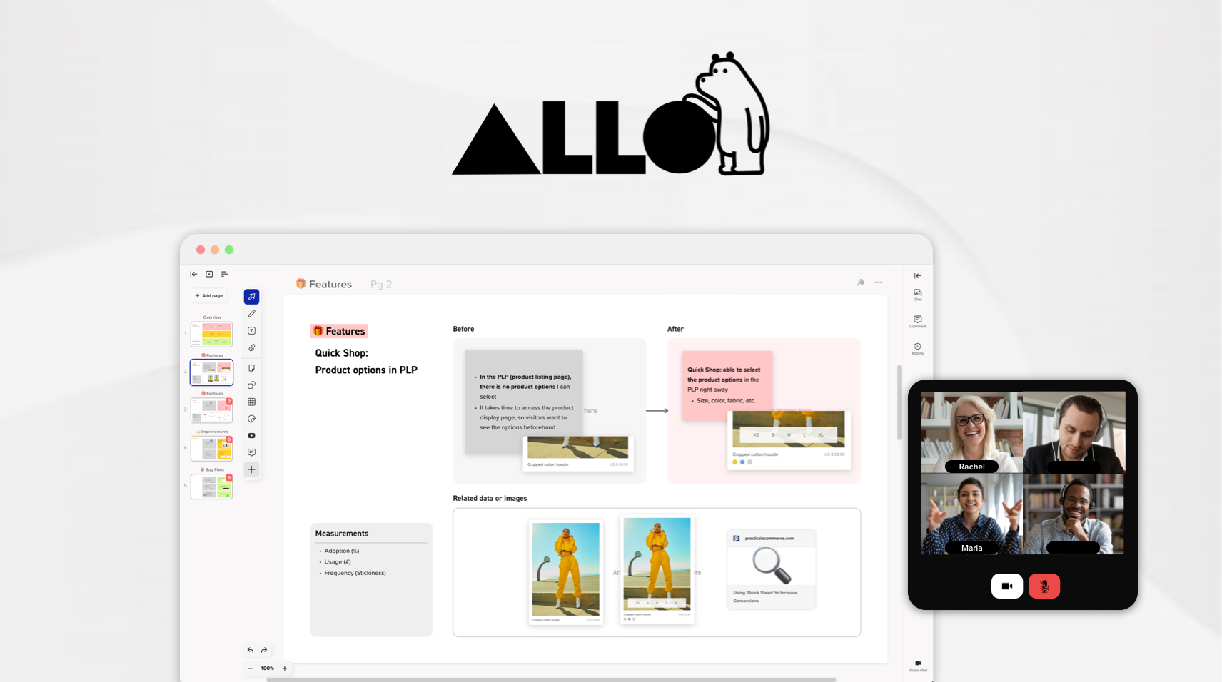 Allo: Remote Workspace for whiteboarding and team collaboration